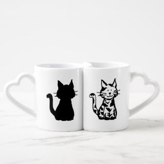 Black and White Cats Pattern Lovers Mug