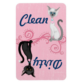 Black and White Cats Pink Clean Dirty Dishwasher Rectangular Photo Magnet