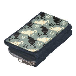 Black and white cats with japanese characters wallets