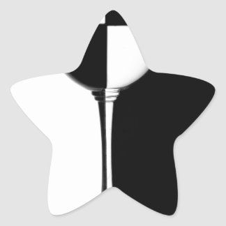 Black and white caused half full glass star sticker