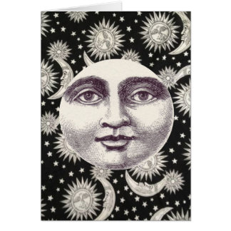 Black and White Celestial Moon Notecard