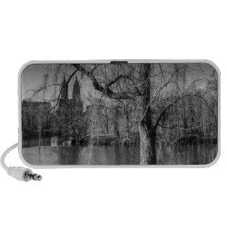 Black and White Central Park New York Landscape Notebook Speaker