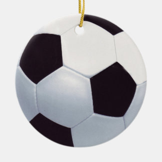 Black and White Ceramic Soccer Ball Ornament