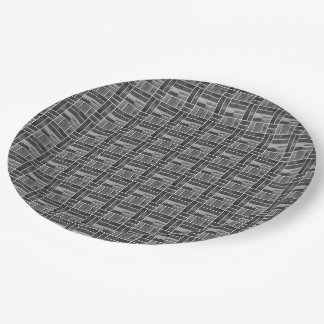 Black and white ceramic tiles effect 9 inch paper plate