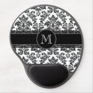 Black and White Chalkboard Damask Pattern Gel Mouse Pad