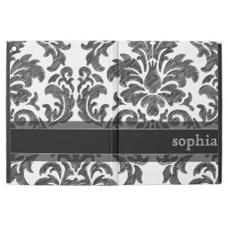 "Black and White Chalkboard Damask Pattern iPad Pro 12.9"" Case"
