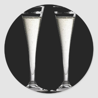Black and White Champagne Glass Flutes Classic Round Sticker