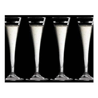 Black and White Champagne Glass Flutes Postcard