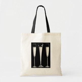 Black and White Champagne Glasses Tote Bag