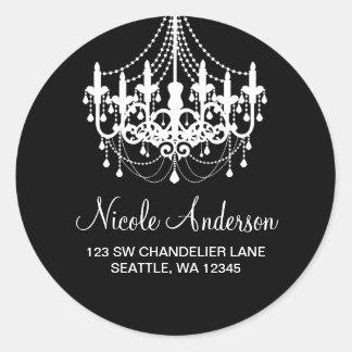 Black and White Chandelier Round Address Label
