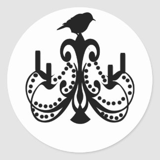 Black and White Chandelier Round Sticker
