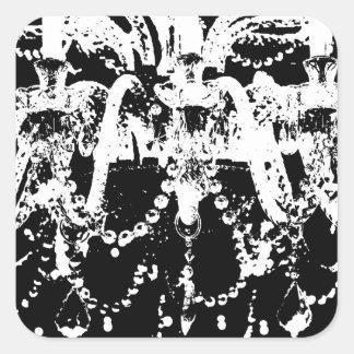 Black and White Chandelier Square Sticker