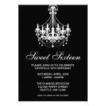 Black and White Chandelier Sweet Sixteen Birthday Custom Invite