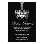Black and White Chandelier Sweet Sixteen Birthday Custom Invitations