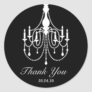 Black and White Chandelier Thank You Classic Round Sticker