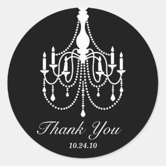 Black and White Chandelier Thank You Round Sticker