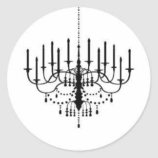 Black and White Chandelier Wedding Seal Round Sticker