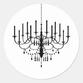 Black and White Chandelier Wedding Seal Round Sticker