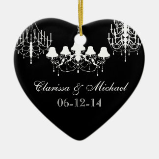 Black and White Chandeliers Customized Keepsake Christmas Ornament