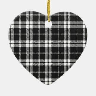 Black And White Check Ceramic Heart Decoration