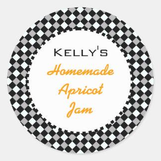 Black and white check orange apricot jam label