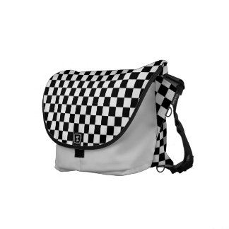 Black and White Check pattern Courier Bags