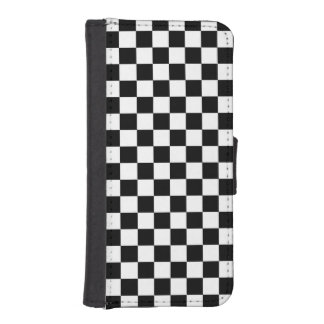 Black and White Check pattern Phone Wallets