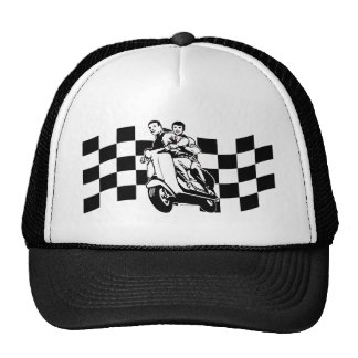 Black and white check scooter riders cap