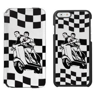 Black and white check scooter riders incipio watson™ iPhone 6 wallet case