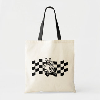 Black and white check scooter riders tote bag