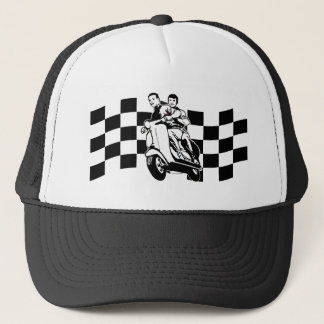 Black and white check scooter riders trucker hat