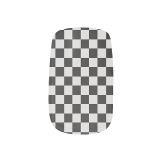 Black and White Checked  Minx Nails Minx Nail Art