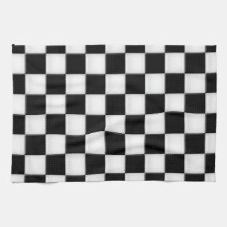 Black and White Checker patterns Tea Towel
