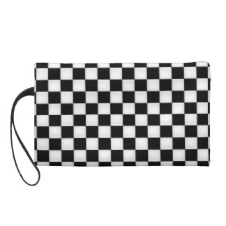 Black and White Checker patterns Wristlet