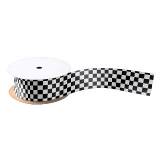 Black and White Checkerboard Background Satin Ribbon