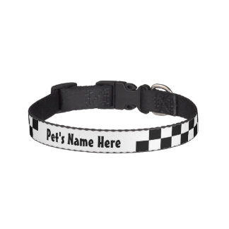 Black and White Checkerboard Checkered Flag Dog Collars