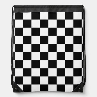 Black and White Checkerboard Checkered Flag Drawstring Backpack