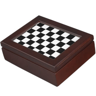 Black and White Checkerboard Checkered Flag Keepsake Boxes