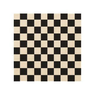 Black and White Checkerboard Checkered Flag Wood Print