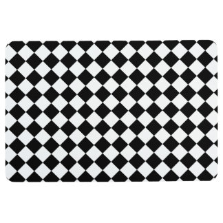 Black and White Checkerboard Floor Mat