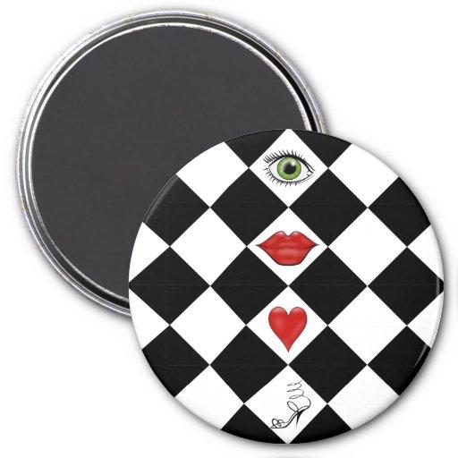 black and white checkerboard folk art lips fridge magnet