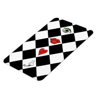 black and white checkerboard folk art lips rectangular magnet