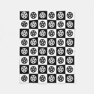 Black and White Checkerboard Pentacles Fleece Blanket