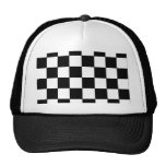 Black and White Checkerboard Retro Hipster Mesh Hats