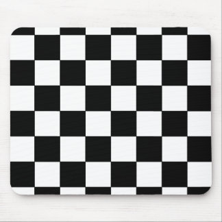Black and White Checkerboard Retro Hipster Mouse Mat