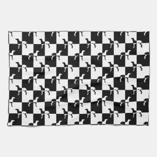 Black and White Checkerboard Weimaraner Hand Towels