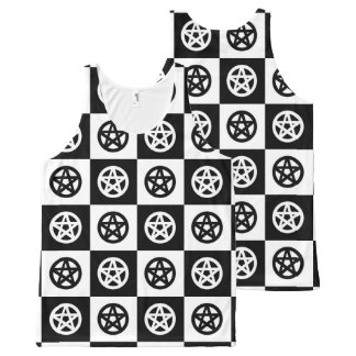 Black and White Checkerboard with Pagan Pentacles All-Over Print Tank Top