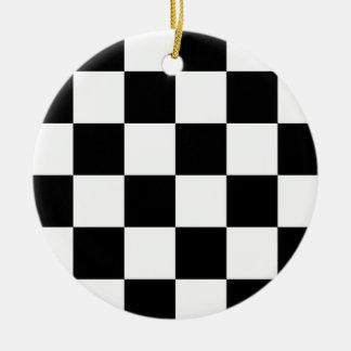 Black and White Checkered Auto Racing Flag Round Ceramic Decoration