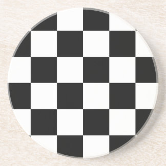 Black and White Checkered Auto Racing Flag Drink Coasters