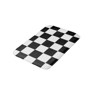 Black And White Checkered Checkerboard Pattern Bath Mat